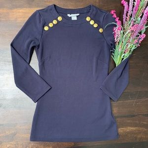 Beautiful Navy and Gold Button Blouse